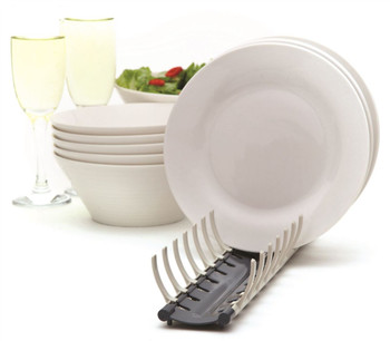 Hutzler Grey Folding Compact Portable Plate Dish Drainer Rack Holder for Caravans, Camping and Small Homes