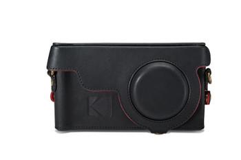 Genuine Kodak Camera Leather Case Cover for Kodak Ektra Smartphone - Black / Red (KDCC-BLRE-EKT-0H1)
