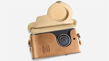 Genuine Official Kodak Camera Leather Case Cover for Kodak Ektra Smartphone - Brown / Yellow (KDCC-BRYE-EKT-0H1)