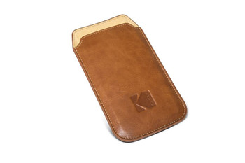 Genuine Kodak Leather Pouch for Kodak Ektra Smartphone - Brown / Yellow (KDSL-BRYE-EKT-0G1)