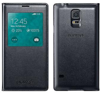 Genuine Official Samsung S-View Case Flip Cover for Samsung Galaxy S5 - Black (EF-CG900BBEG)