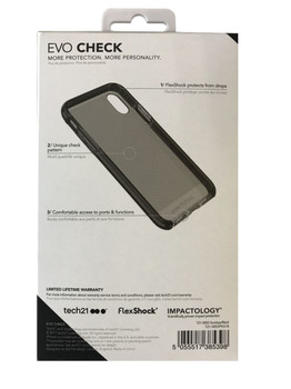 New Genuine Official TECH21 Evo Check Impact Case Cover Smokey Black For iPhone X