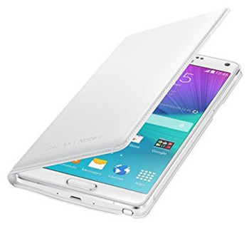 Genuine Official Samsung Galaxy Note 4 Flip Wallet Case Cover EF-WN910 - Classic White