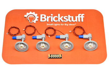 """Brickstuff Warm White Ceiling Lights with 12"""" Cables (4-Pack) and Connecting Adapter - QK7"""