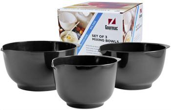 Hutzler Gourmac Melamine Margrethe Mixing Bowls Set of 3 - Black (3234BK)
