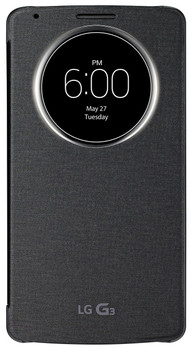 LG Original Quick Circle Window Clip-On Flip Case Cover Compatible with LG G3 Smartphone - Black - CCF-345N