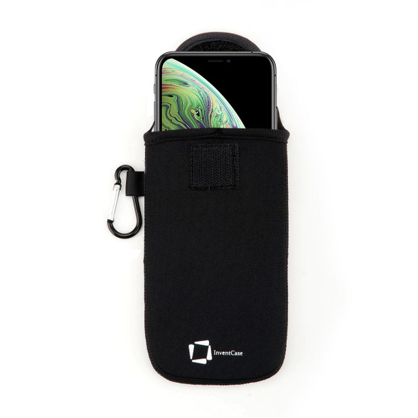 InventCase Neoprene Impact Resistant Protective Pouch Case Cover Bag with Secure Fastening and Aluminium Carabiner for Apple iPhone Xs Max 2018 - Black