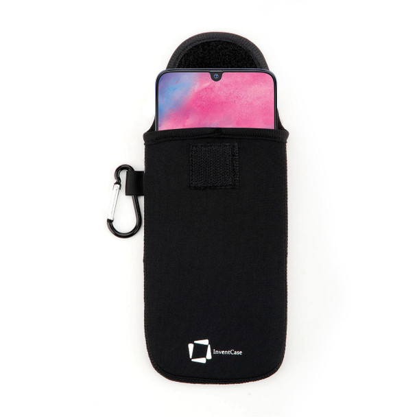 InventCase Neoprene Impact Resistant Protective Pouch Case Cover Bag with Secure Fastening and Aluminium Carabiner for Samsung Galaxy M30 2019 - Black
