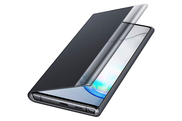 Genuine Official Samsung Clear View Standing Flip Cover Case for Samsung Galaxy Note 10 - Black (EF-ZN970CBEGWW)