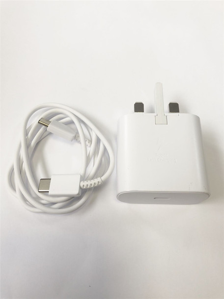 Official Samsung EP-TA800 3 Pin UK Super Fast Charging Travel Charger Power Adapter with USB-C Cable for S10/Note 10/10+ - White