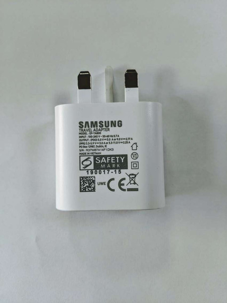 Official Samsung EP-TA800 3 Pin UK Super Fast Charging Travel Charger Power Adapter for S10/Note 10/10+ - White