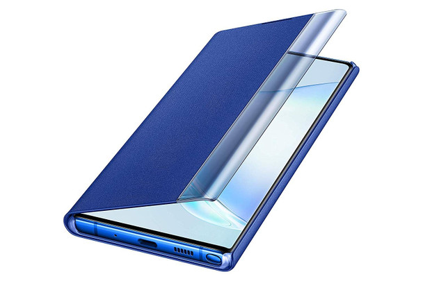 Official Samsung Clear View Standing Flip Cover Case for Galaxy Note 10+ / 10 Plus - Blue