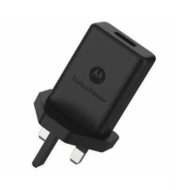 Official Motorola TurboPower 15+ 3 Pin UK Mains Charger Travel Adapter - Black - SPN5972A