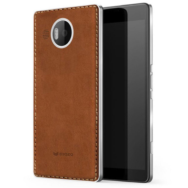 Mozo Microsoft Lumia 950 XL Qi Wireless Charging Back Cover Case with NFC - Cognac/Silver (950XLBCSWN)