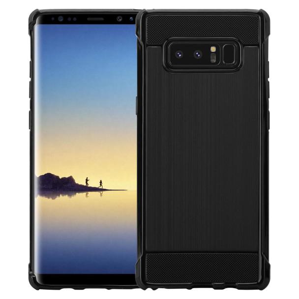 InventCase Premium Carbon Fibre Brushed TPU Gel Case Cover Skin for the Samsung Galaxy Note8 / Note 8 - Black
