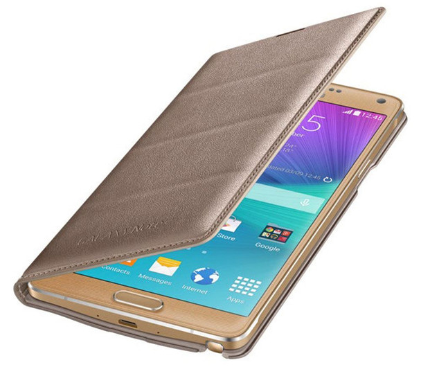 Genuine Official Samsung Patterned Flip Wallet Case Cover for Galaxy Note 4 - Gold