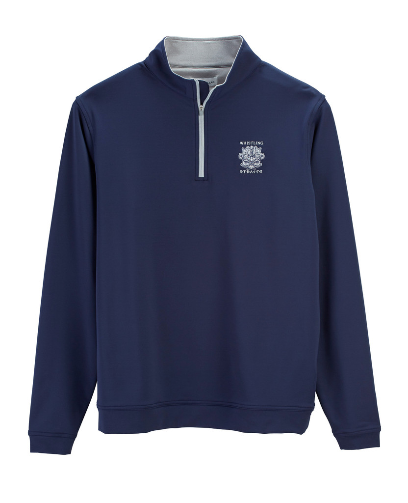 MEN'S PETER MILLAR  PERTH PERFORMANCE QUARTER ZIP. WHISTLING STRAITS LOGO EXCLUSIVELY. 2 COLOR OPTIONS