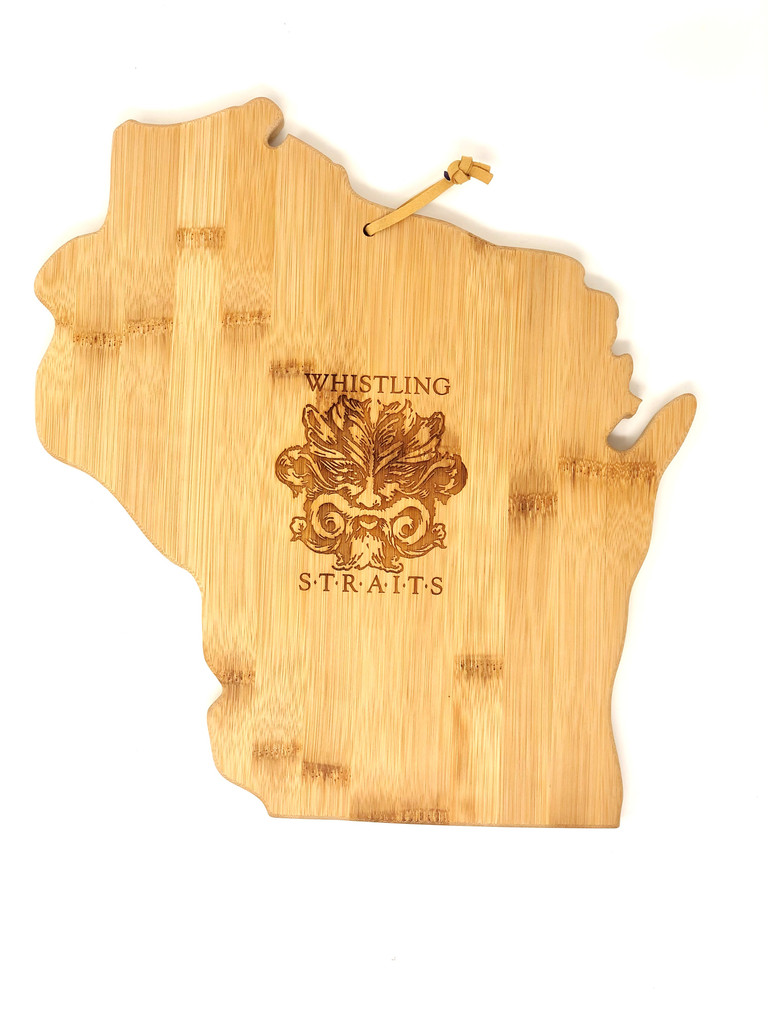 WISCONSIN CUTTING BOARD. WHISTLING STRAITS® LOGO EXCLUSIVELY.