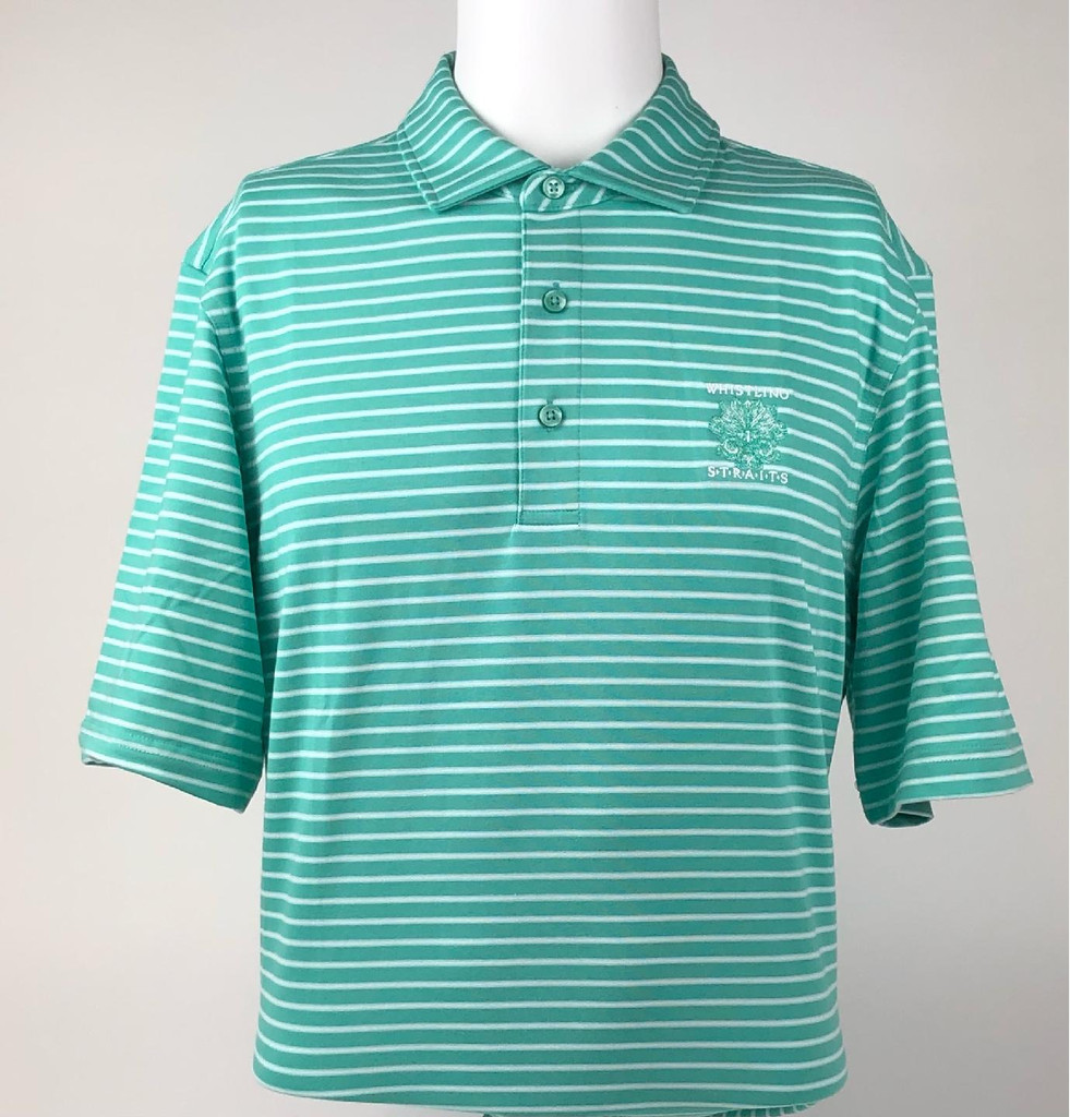 MEN'S VINEYARD VINES® CARMEL CYPRESS STRIPE POLO. WHISTLING STRAITS® LOGO EXCLUSIVELY. 2 COLOR OPTIONS.