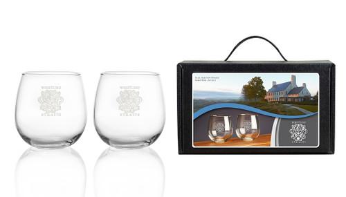 16 OZ STEMLESS WINE GLASSES. SET OF 2.