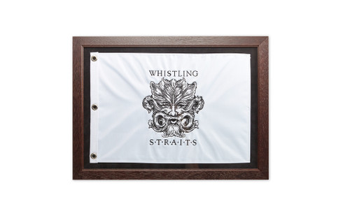 "21"" X 13""  EMBROIDERED PIN FLAG, CHERRY WOOD FRAME, GLASS AND ARCHIVAL MATTING"