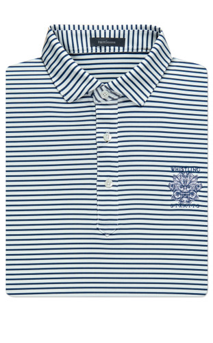 MEN'S STRIPE PERFORMANCE POLO.  WHISTLING STRAITS LOGO EXCLUSIVELY.  2 COLOR OPTIONS