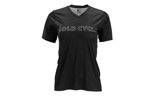 BONTRAGER WOMEN'S V-NECK TECH TEE.  BOLD CYCLE LOGO EXCLUSIVE