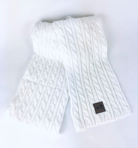 WOMEN'S CABLE KNIT SCARF. THE AMERICAN CLUB LOGO EXCLUSIVELY.