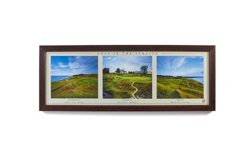 "15"" X 39"" FRAMED WHISTLING STRAITS PAR 3 HOLES TRIPTYCH"
