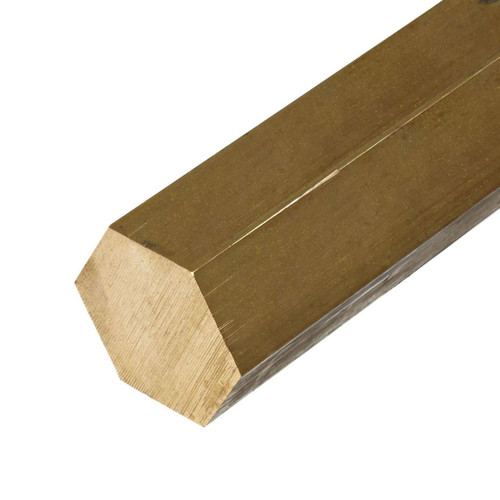 C360 Brass Hexagon Bar, 1.000 (1 inch) x 24 inches