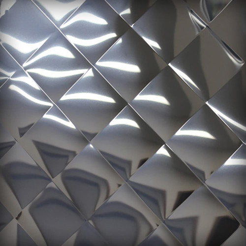"""304 Quilted Polished Stainless Steel Sheet, 0.035"""" x 12"""" x 12"""""""