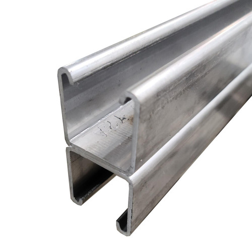 """304 Stainless Steel Back to Back Solid Strut Channel, 1-5/8"""" x 3-1/4"""", 48 inches, 12 ga."""