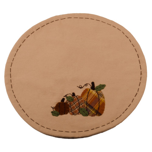 Plaid Orchard Pumpkins Nutmeg - Orange Candle Mat