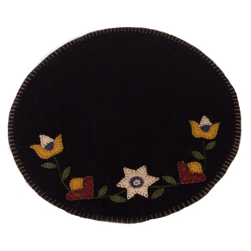 Flowering Vine Black Candle Mat