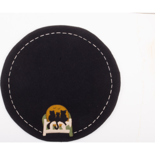 Cats on a Fence Black Candle Mat