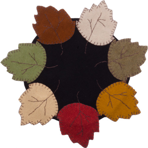 Autumn Leaves Black Candle Mat