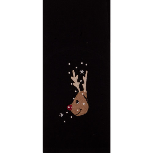 Reindeer Black Towel