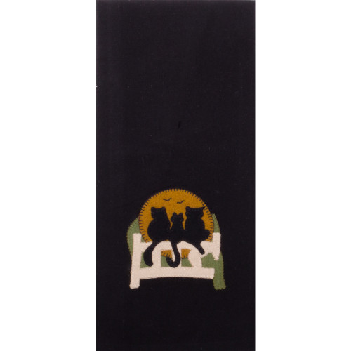 Cats on a Fence Black Towel
