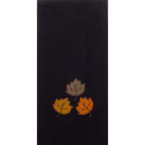 Autumn Leaves Black Towel
