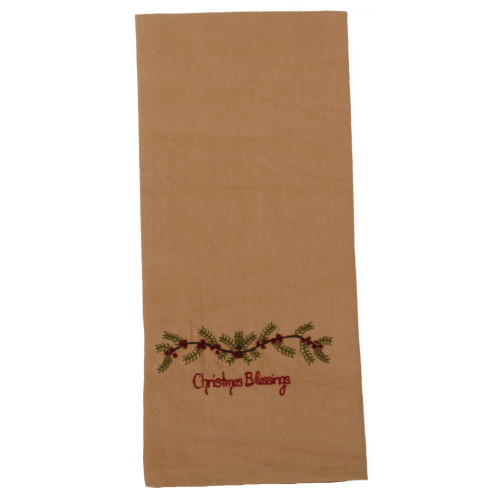Christmas Blessings Tea Dyed Towel