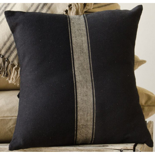 Grain Sack Stripe Black - Oat Pillow Cover