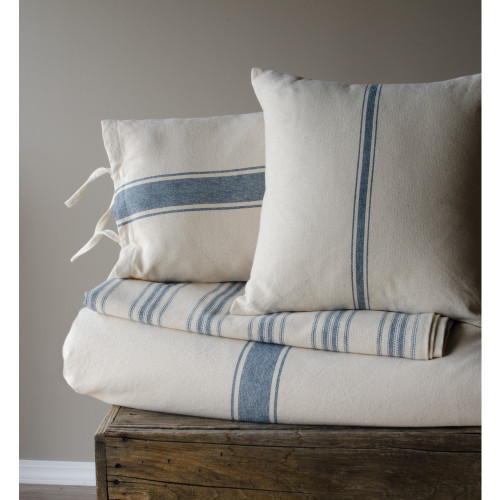 Grain Sack Stripe Cream - Colonial Blue Pillow Cover
