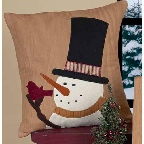 Snowman Sam Tea Dyed Pillow