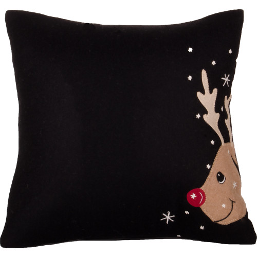 Reindeer Black Pillow