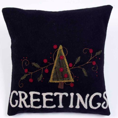 Greetings Black Pillow
