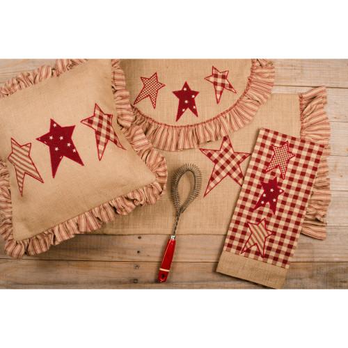 Patriotic Star Burlap Pillow