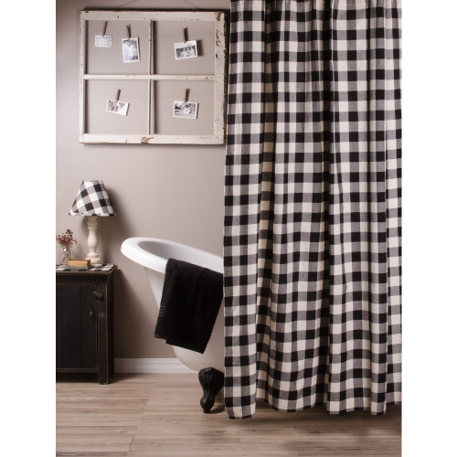 Buffalo Check Black - Buttermilk Shower Curtain