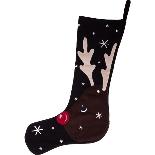 Reindeer Black Stocking