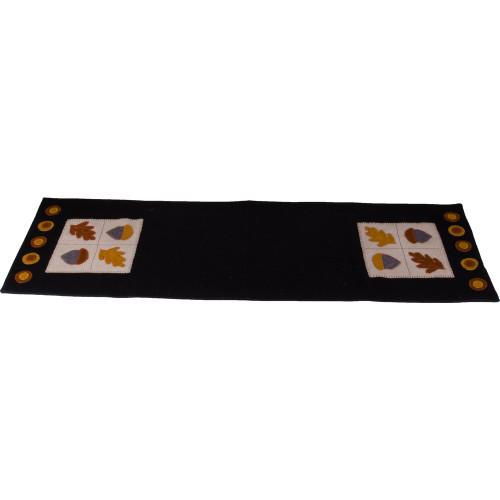 Acorn & Oak Leaf Black Table Runner