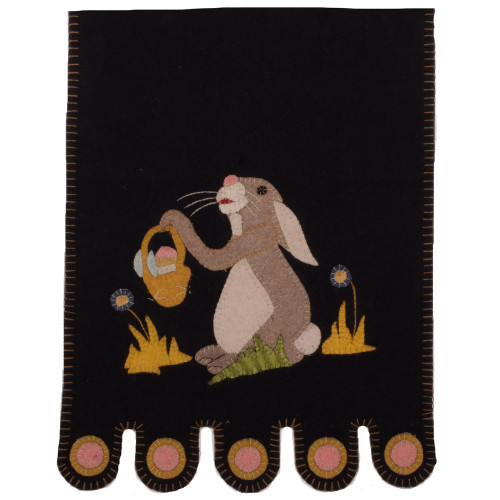 Bunny and a Basket Black Table Runner